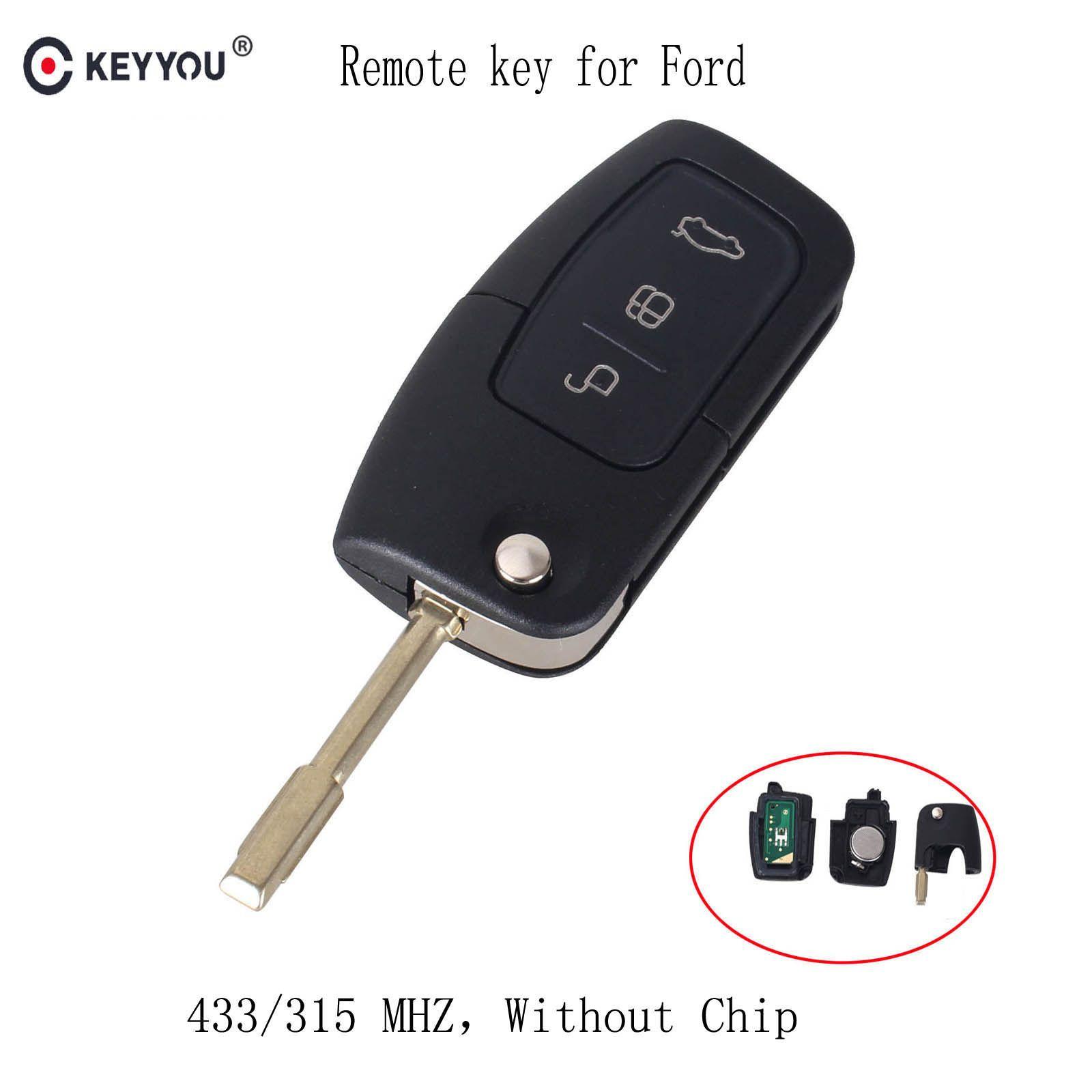 KEYYOU 315/433 MHz 3 Tasten Flip Folding Auto fernbedienung Für FORD Mondeo Fokus Fiesta C Max S Max Galaxy