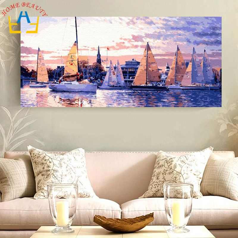 50*100 large oil painting by numbers painting calligraphy coloring by number landscape sea boat drawing paint wall picture DY04