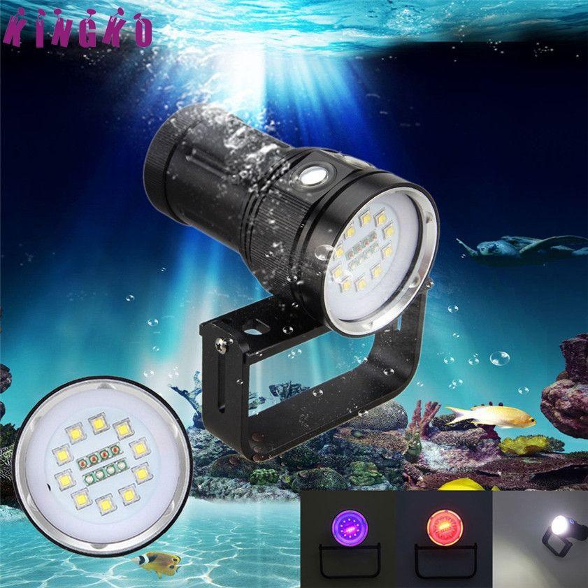 High Quality 10x XM-L2+4x R+4x B 12000LM LED Photography Video Scuba Diving Flashlight Torch