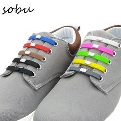 12pcs/set Shoelaces Novelty No Tie Shoelaces Unisex Elastic Silicone Shoe Laces For Men Women All Sneakers Fit Strap V001
