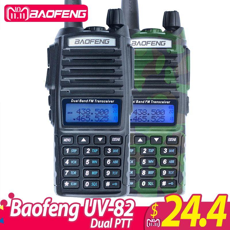 1Pcs Baofeng UV-82 <font><b>Walkie</b></font> Talkie UV 82 Portable Two way Radio Dual PTT Ham CB Radio Station VHF UHF UV82 Hunting Transceiver