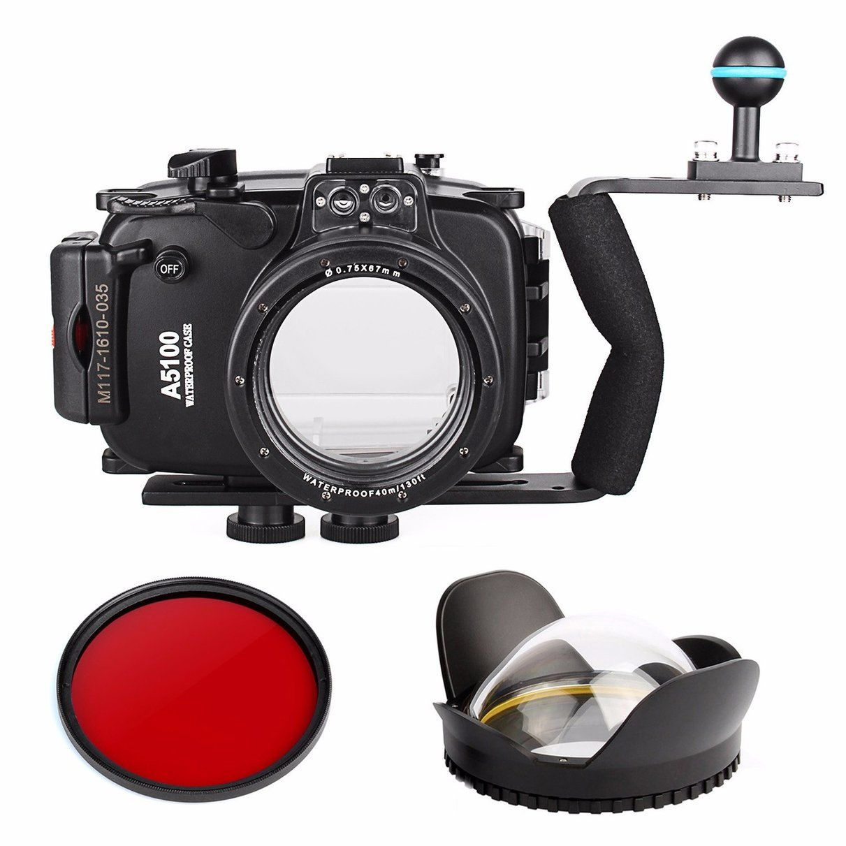 40m 130ft Waterproof Underwater Camera Housing Case Bag for Sony A5100 16-50mm Lens + Diving handle + Fisheye Lens + Red Filter