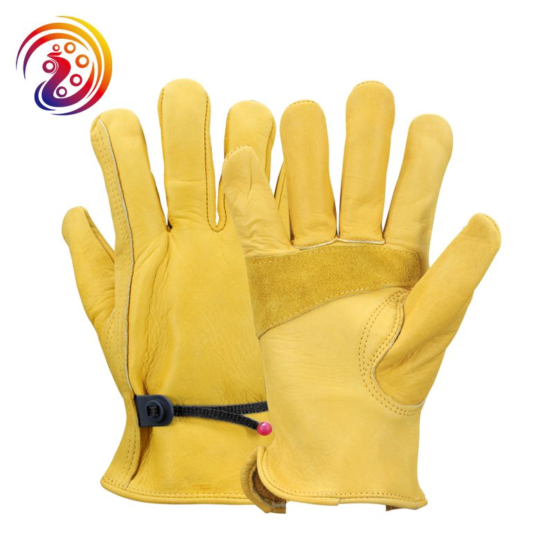 OLSON DEEPAK Work Gloves Cowhide Leather Factory Driver Climbing Gardening Protective Glove HY018