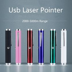 Mini USB Diisi Hijau Pena Laser Pointer 5 MW 532NM Lazer Terang Tunggal Hijau Grosir