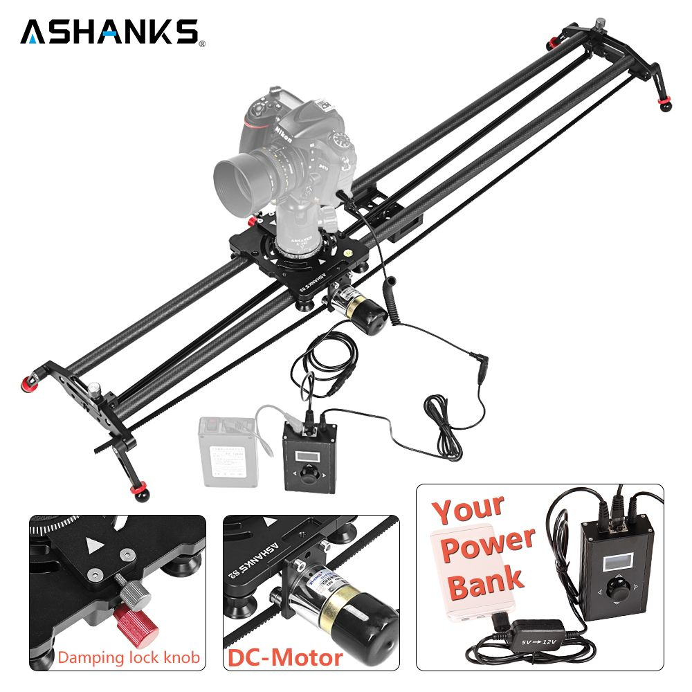 ASHANKS Carbon Camera Slide Follow Focus Motorized Electric Delay Slider Track Rail for Timelapse Photography