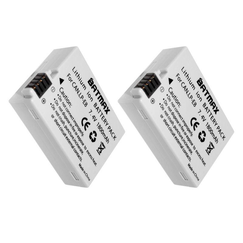 2-Pack LP-E8 LP E8 LPE8 Batterie Pour Appareil Photo Canon EOS 550D 600D 650D 700D Baiser X4 X5 X6i X7i Rebelles T2i T3i T4i T5i Batteries