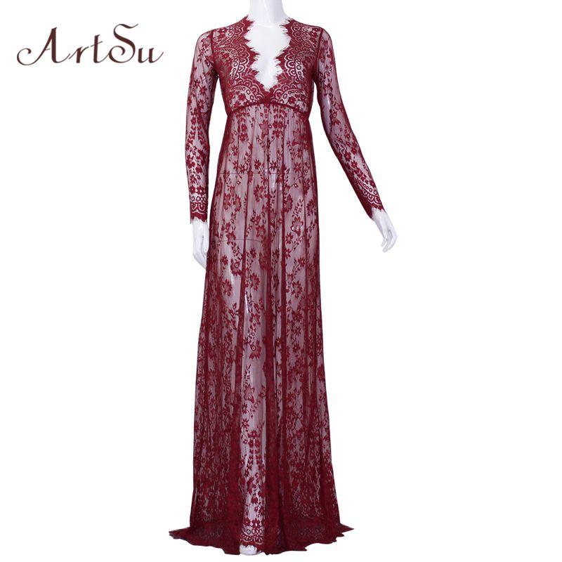 ArtSu livraison gratuite femmes longueur au sol noir blanc dentelle robe ajuster la taille Sexy voir à travers Floral Vestido DR5046
