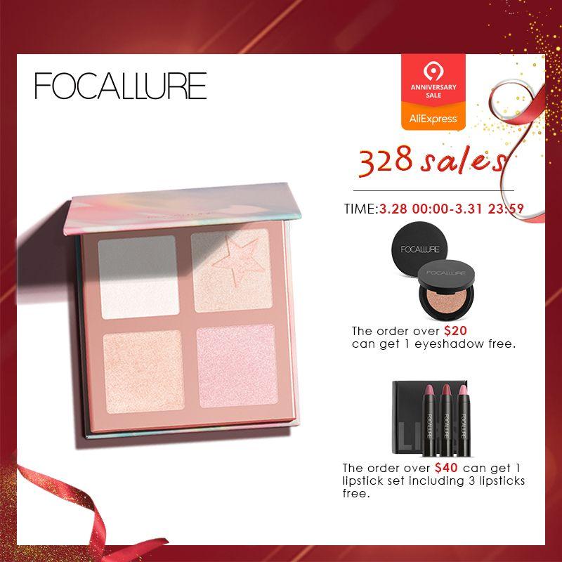 FOCALLURE 5 Couleurs Surligneurs Palette Haute Pigment Chatoyante Crémeuse Poudre Jaune Clair Professionnel Illuminateur Visage Maquillage