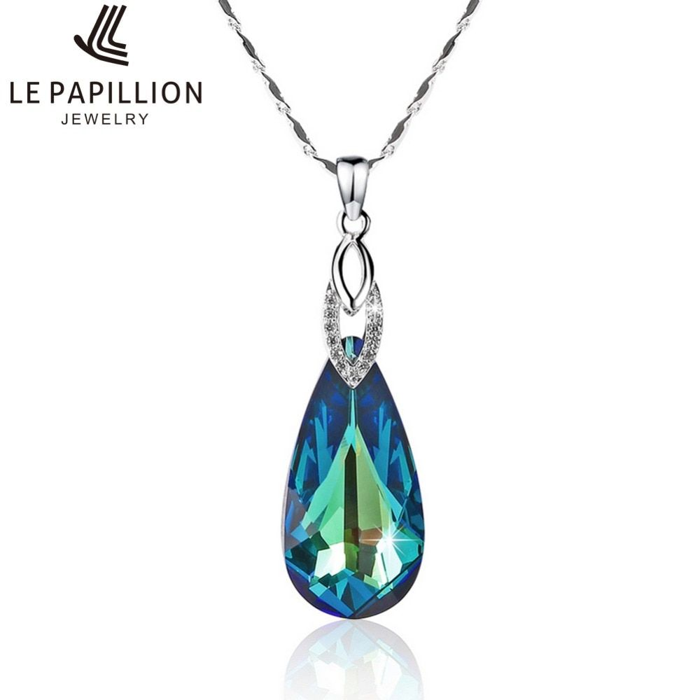LEPAPILLION Women Necklace Luxury Crystal Water Drop Shape Pendant Necklace Woman Sterling Silver Choker Necklace Gift For Lady