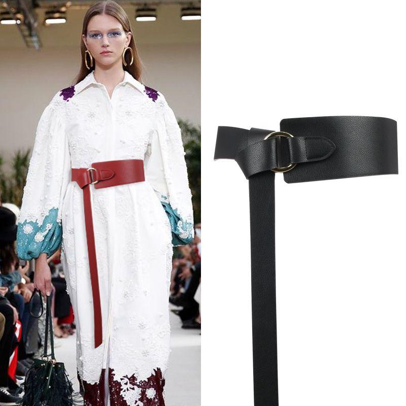 Nouveau noir large Corset ceinture en cuir femme cravate Obi ceinture mince marron arc loisirs ceintures pour femmes robe de mariée ceinture dame
