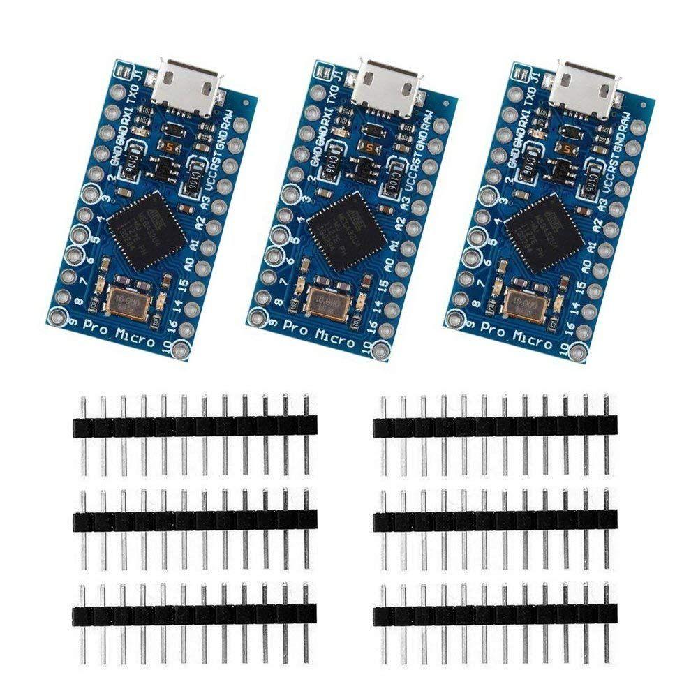 3 pièces Pro Micro ATmega32U4 5 V/16 MHz carte de développement avec 3 rangées broche en-tête pour Arduino Leonardo remplacer ATmega328 Pro Mini