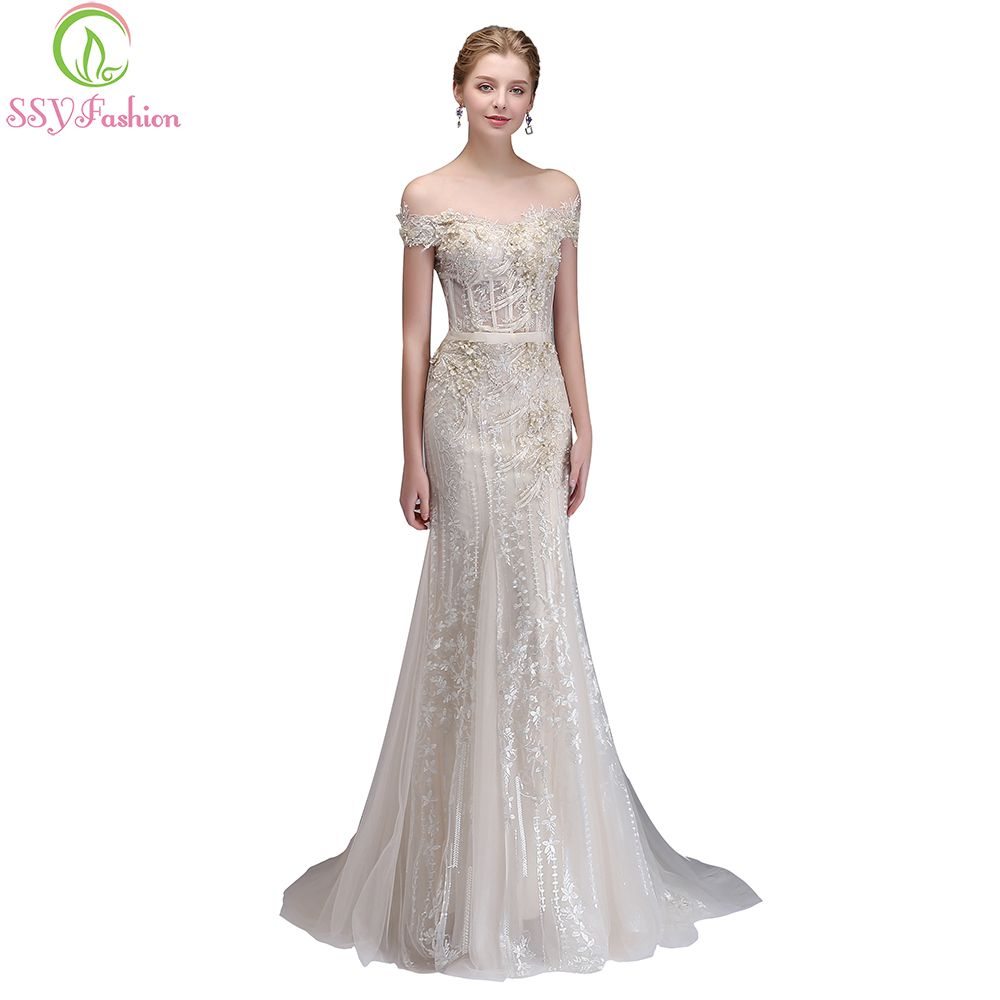 SSYFashion New High-end Banquet Elegant Champagne Mermaid Evening Dress Luxury Lace Appliques Beading Fishtail Prom Pary Gown