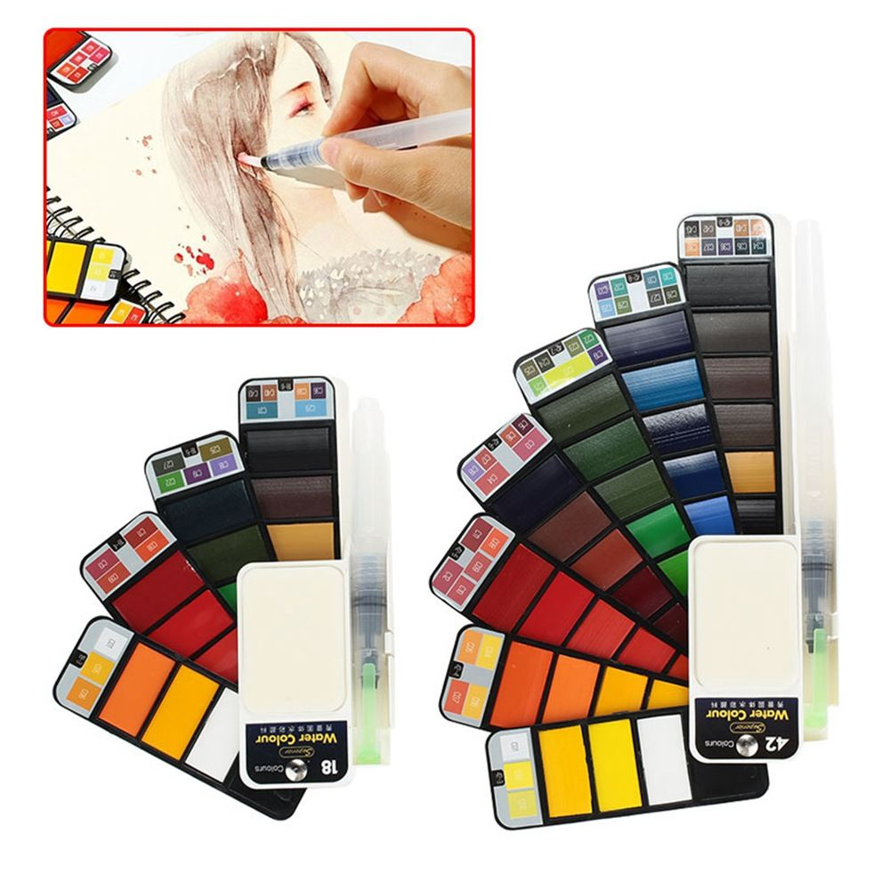 18/25/33/42 Colors Pigment Paints Set  Portable Solid Watercolor Solid Watercolor Set Professional Permanent Art Supplies