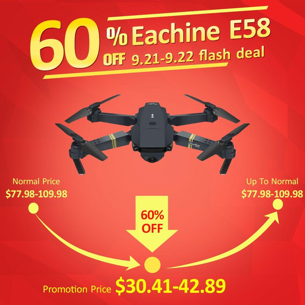 Eachine E58 WIFI FPV Avec Grand Angle HD Caméra Haute Tenue Mode Pliable Bras RC Quadcopter Drone RTF VS VISUO XS809HW JJRC H37
