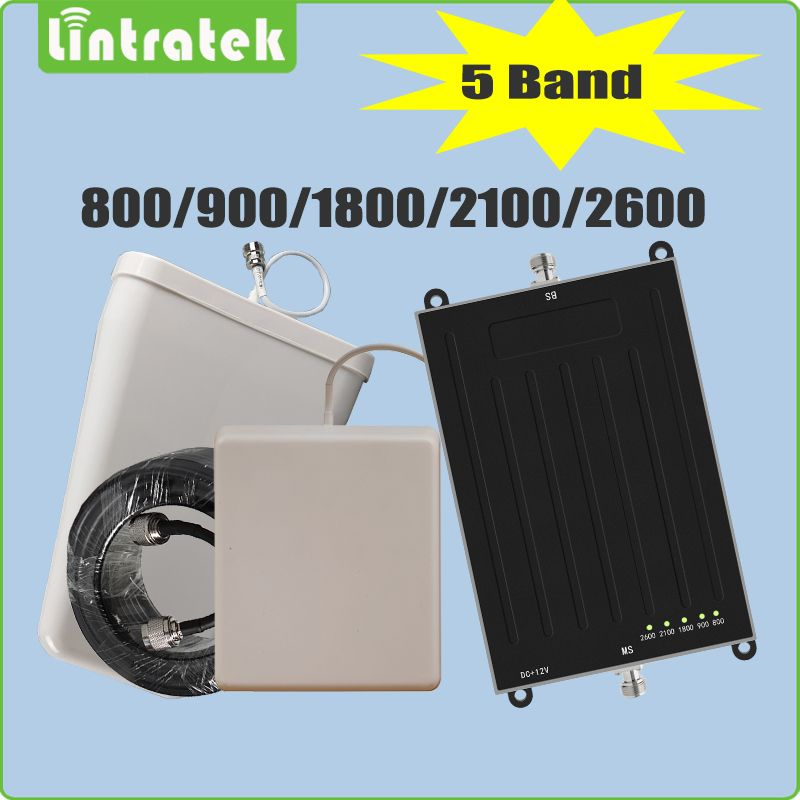 Lintratek 5 Band 2G 3G 4G Signal Booster EGSM DCS UMTS LTE 800(B20) 900(B8) 1800(B3) 2100(B1) 2600(B7) Signal Repeater Full Set