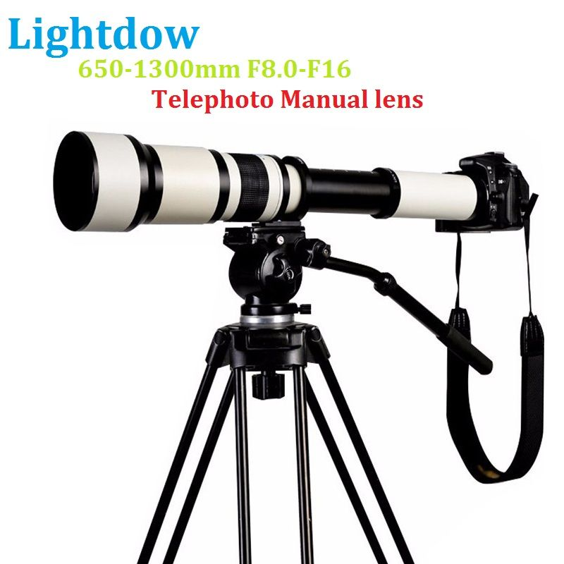 Lightdow 650-1300 F8.0-F16 Super Telephoto Manual Zoom Lens+T2 Adapter Ring for Canon Nikon Sony Pentax DSLR Cameras