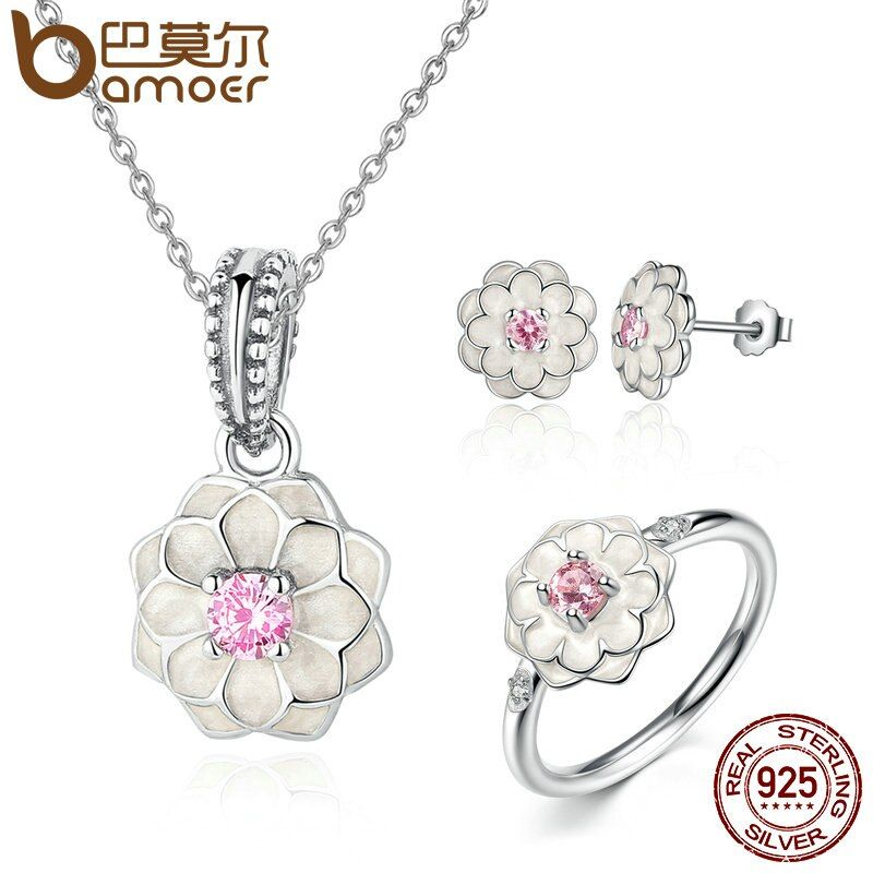 BAMOER Genuine 100% 925 Sterling Silver Jewelry Set White Flower Pink Clear CZ Jewelry Sets Wedding Engagement Jewelry ZHS036