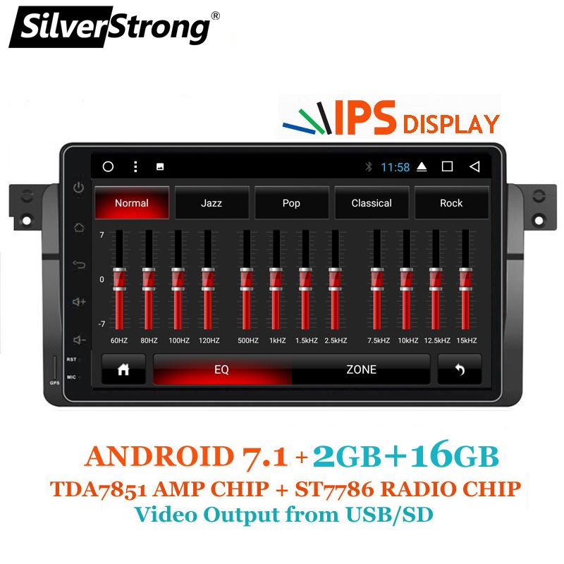SilverStrong Android7.1 318 320i Android Car GPS Radio For BMW E46 315 328 M3 Rover 2GB RAM Multimedia Autoradio TPMS