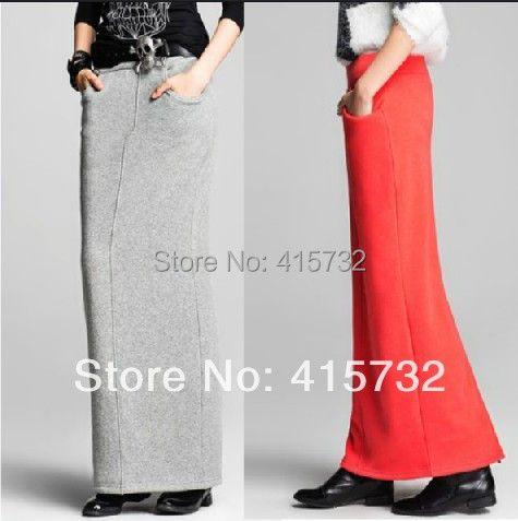 Бесплатная доставка 2018 Новый Плюс Размер XS-10XL осень-весна тонкие бедра юбка для женщин хлопка прямые длинные макси настроены разрез юбки