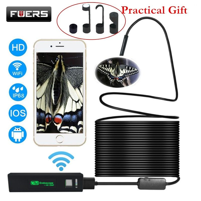 Fuers USB Wifi Endoscope Camera Android 1200P Endoscope Camera Inspection <font><b>Semi</b></font> Rigid Hard Tube Softwire Android iOS Borescope