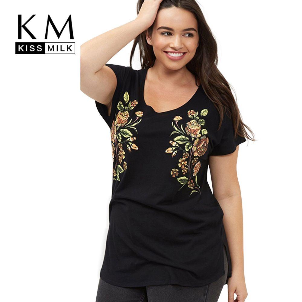 Kissmilk Grande Taille 2018 Nouvelle Mode Femmes Vêtements Décontractés À Manches Courtes O Cou Fendu Côté Broderie Florale T-shirt