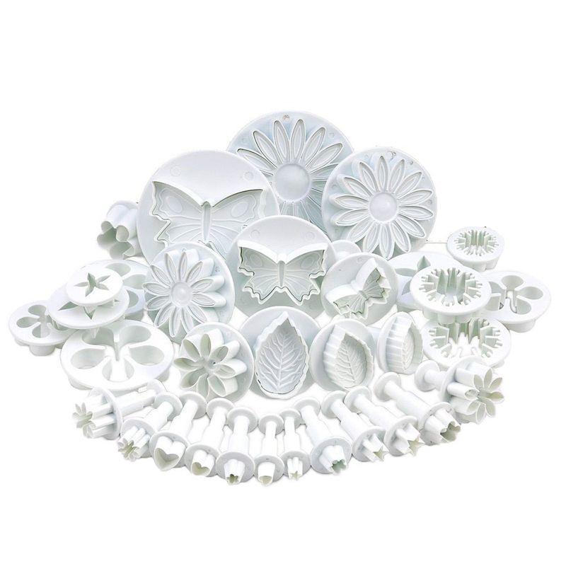 33 pcs/ensemble En Plastique Fleur Fondant Gâteau Décoration Outils Sugarcraft De Coupeur De plongeur Des Biscuits Moule