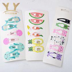 1 carte = 6 pièces Cadeaux de Fête des Enfants Filles de Bande Dessinée Mignon Cheveux Clip crème Glacée Épingle Cheveux Accessoires