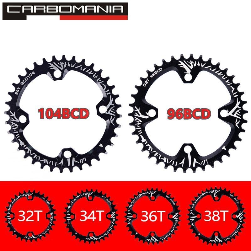 Manivelle de vélo 104BCD/96BCD forme ronde étroite large 32 T/34 T/36 T/38 T vtt plateau vélo cercle pédalier plateau unique