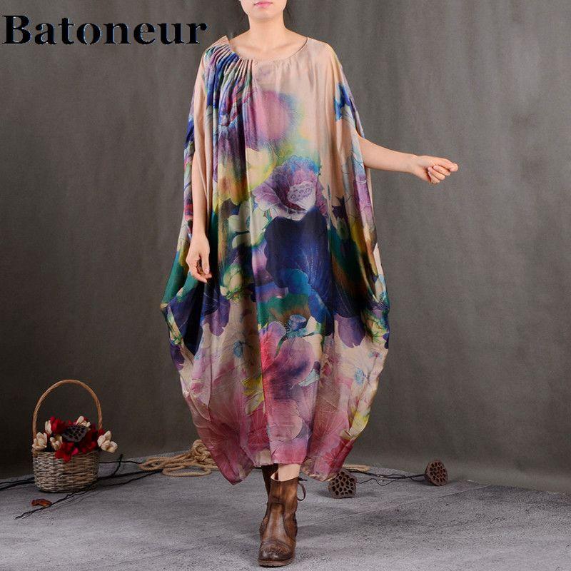 Women Print Floral Dress Fold Chiffon Silk 2018 Summer New Bat Sleeve Pullover Cute Vintage Robe Casual Women Dress