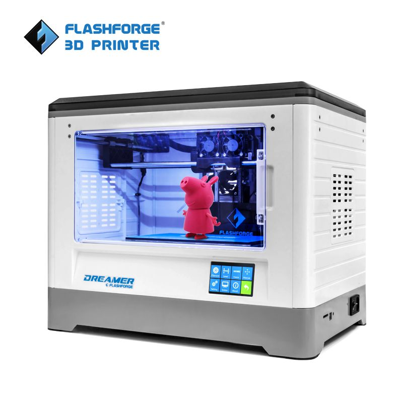 Flashforge 3D Printer Dreamer WIFI and touchscreen with CE FCC Certificate Dual Extruder Fully Enclosed Chamber W/2 Free Spool