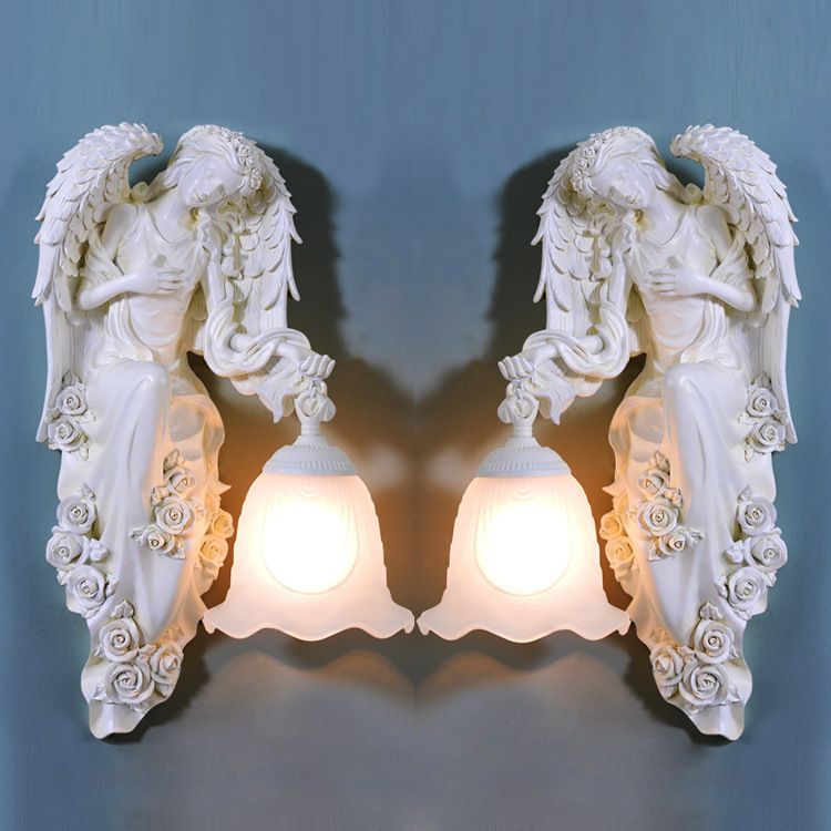 TUDA Free Shipping European Style Wall Lamp Angel Statue Wall Lamp For Living room Lamp Entrance Aisle Lights E27 110V-220V