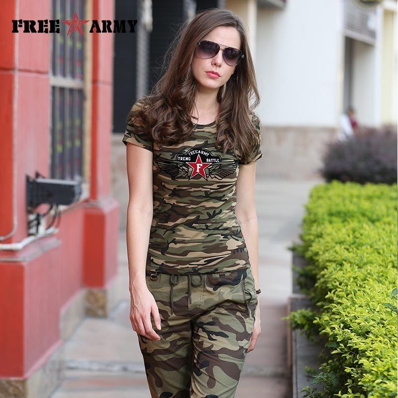 Marque FreeArmy été T-Shirt femmes impression étoile militaire Camouflage coton t-shirts femme Camo hauts t-shirts femmes vêtements