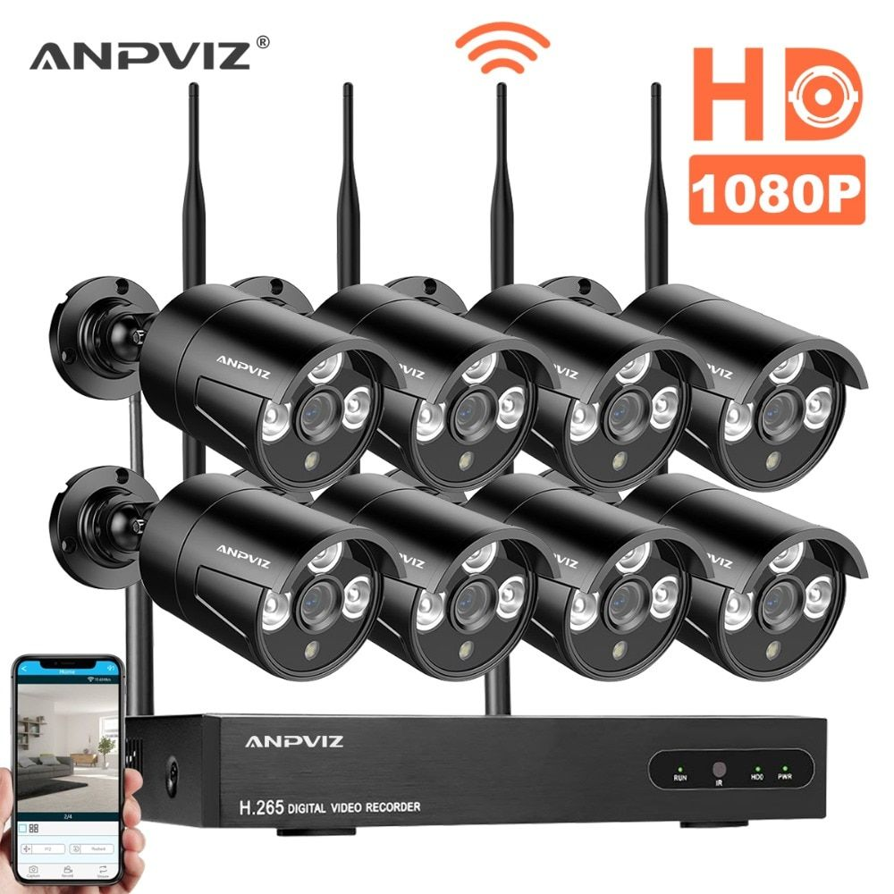Anpviz 1080P CCTV System 8ch HD Wireless NVR kit HDD Options Outdoor IR Night Vision IP Wifi Camera Security System Surveillance