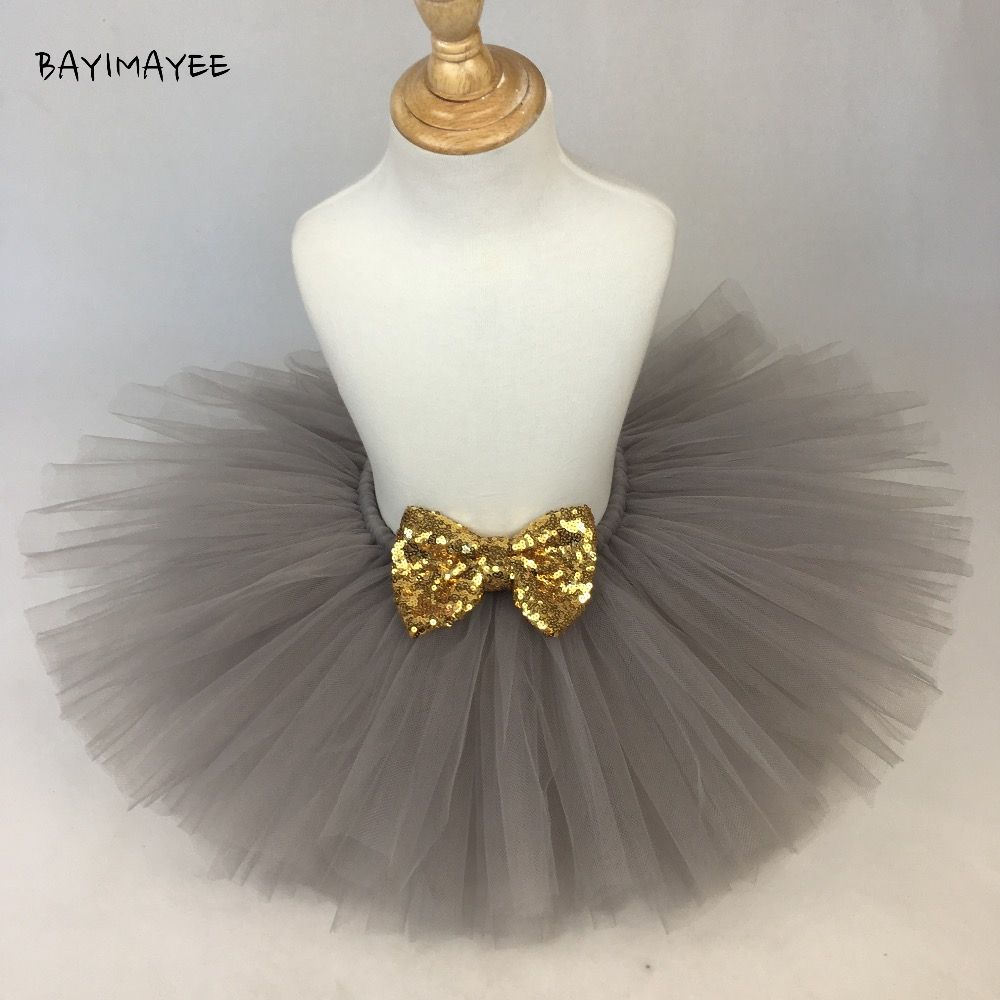 Cute Girls Grey Tutu Skirt Baby Fluffy Tulle Ballet Pettiskirts with Gold Sequin Bow Kids Party Skirt Costume Tutus Underskirts
