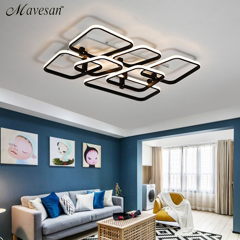 Square Modern led ceiling lights for living room bedroom dining room luminarias Aluminum White ceiling lamp Fixtures AC90v-260v