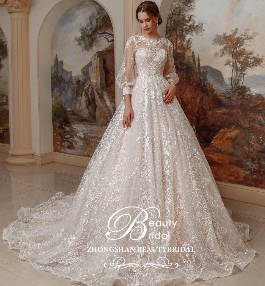 Hochzeit kleid 2019 Luxus Prinzessin Lange zug und Vintage spitze mit laterne hülse vestidos de noiva robe de mariage SP001