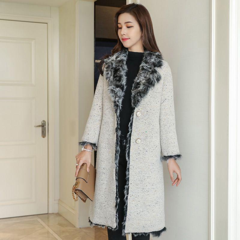 Women's Real Fur Coat 100% Woolen Coat with Lamb Fur Lining rf0193