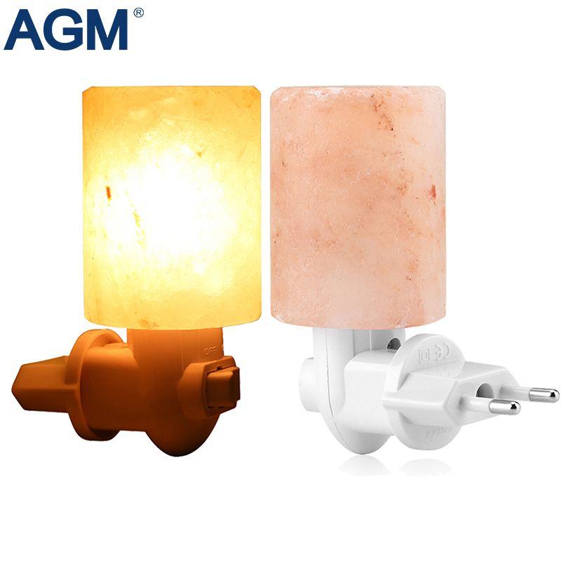 <font><b>Rotatable</b></font> Cylinder EU US UK Plug Himalayan Salt Lamp Air Purifier Crystal Salt Rock Bedside Night Light For Bedroom Corridor