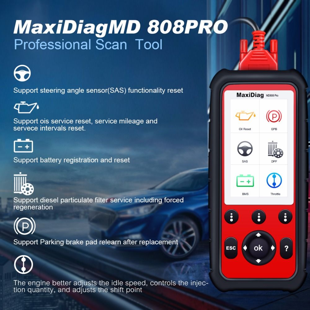 Autel MaxiDiag MD808Pro Diagnostic Scanner tool for Engine, Transmission, SRS , ABS systems with EPB, Oil Reset, DPF, SAS,BMS