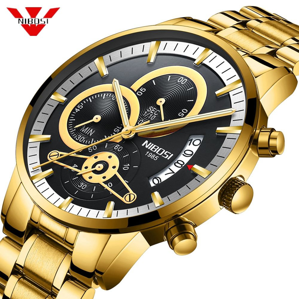NIBOSI Mens Watches Luxury Top Brand Gold Watch Men Relogio Masculino Automatic Date Watch Quartz Luminous Calendar Wristwatch
