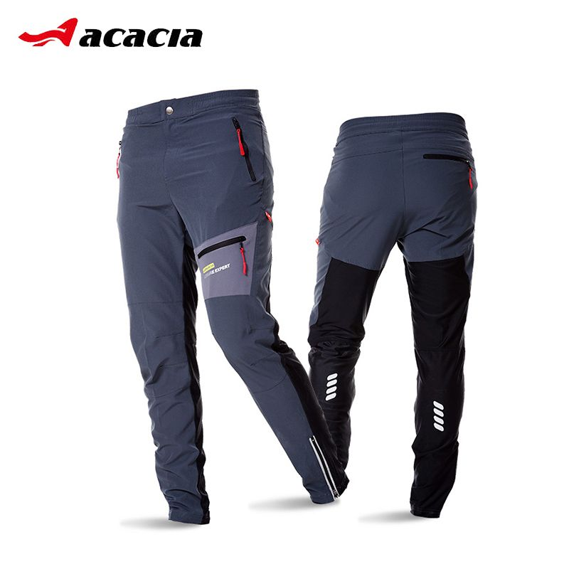 ACACIA Black Grey Breathable Soft Bicycle Safety <font><b>Reflective</b></font> Elastic Waist Pants Spring Autumn Men Cycling Long Pants 02997