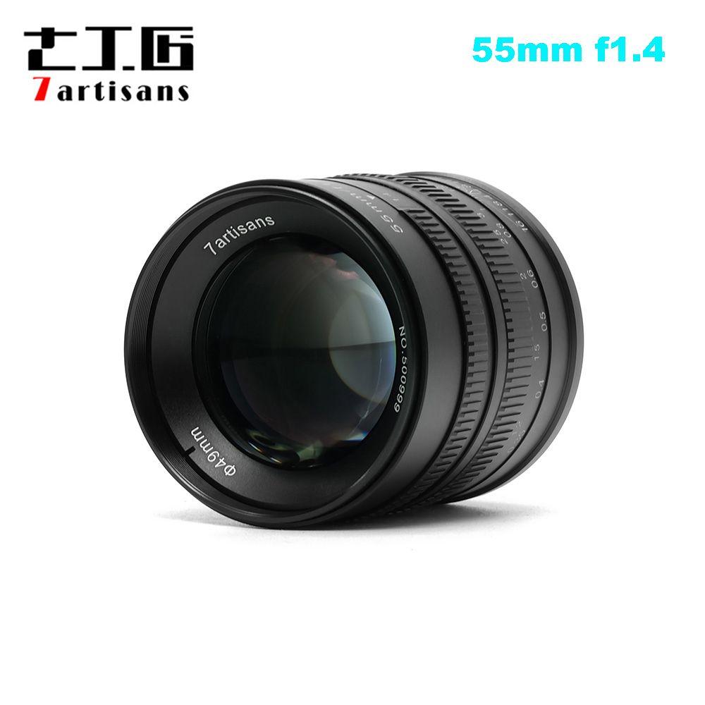 7artisans 55mm F1.4 Large Aperture Portrait Prime Lens for Sony E Mount for Fuji M4/3-Mount EOS-M Mount A6300 A6500 X-A1 G5 M5