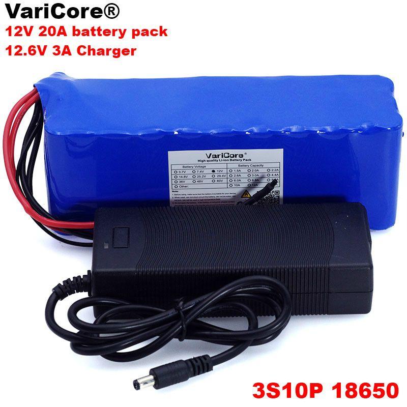VariCore 12 v 20Ah 18650 Lithium-Akku 12,6 v 20000 mah Kapazität Grubenlampe 100 w 800 watt high power Batterien + 3A Ladegerät