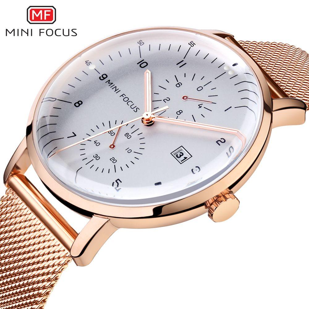 MINI FOCUS Top marque de luxe hommes montre à Quartz en acier inoxydable Bussiness hommes montres or Rose étanche mode homme horloge