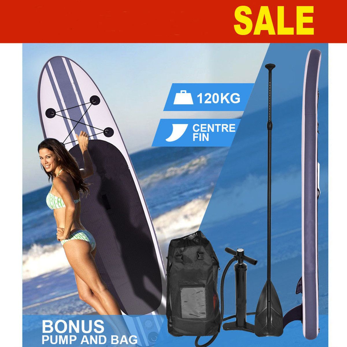 Gofun 335 * 76 * 15cm Stand Up Paddle Surfboard Inflatable Board SUP Set Wave Rider + Pump inflatable surf board paddle boat