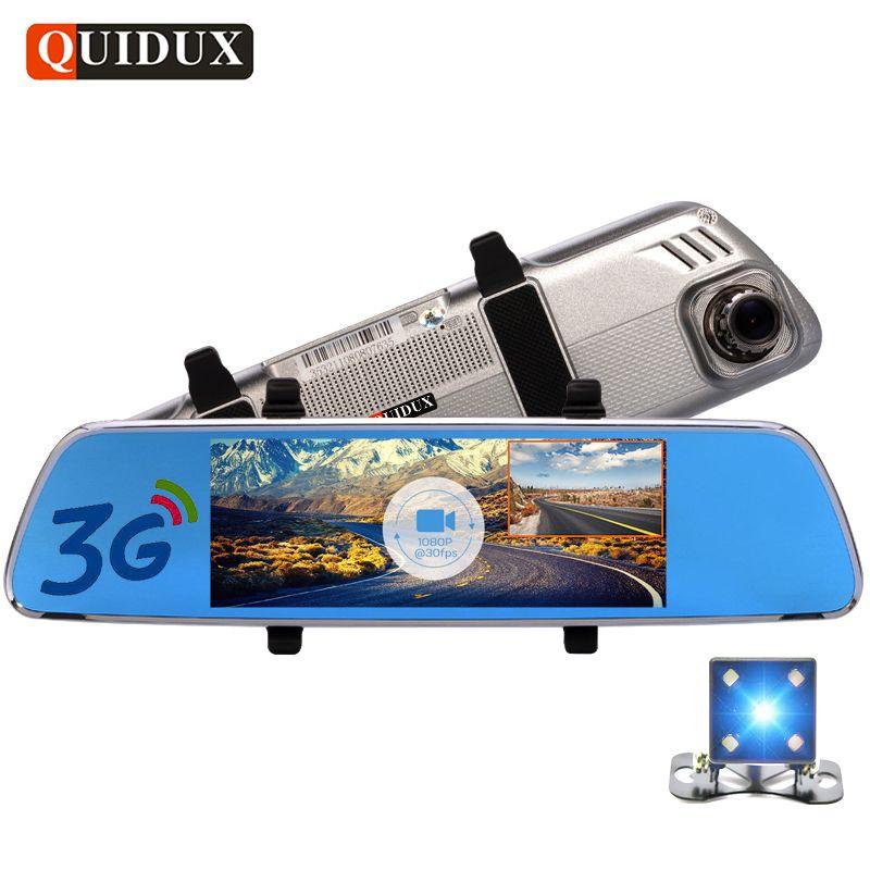 QUIDUX 7 Inch 3G Android Car Rearview mirror DVR GPS Navigator FHD 1080P video recorder Dual Lens Dash camera Reversing Ruler