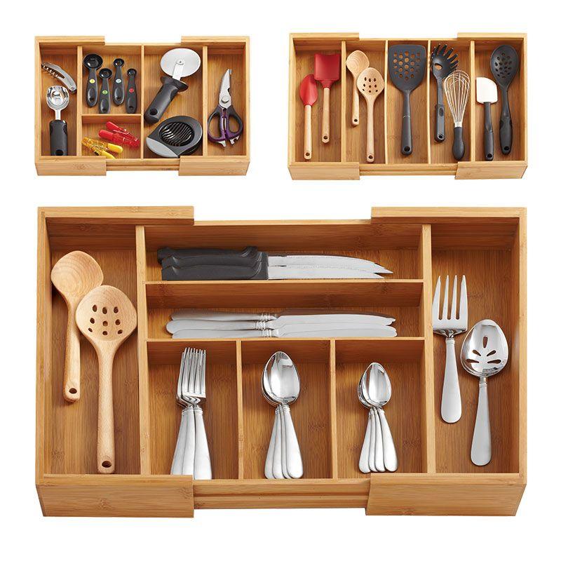 Bamboo Storage Box Kitchen Accessories Organizer Eco Wood Adjustable Utensil Drawers Knife Storage Holders Multi-Use