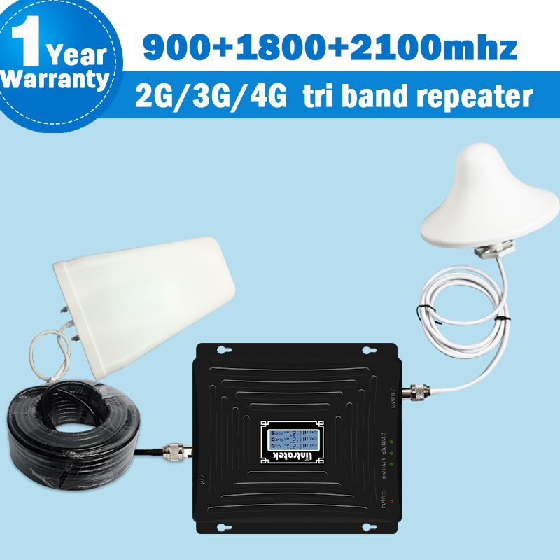 NEUE Tri Band Repeater GSM 900/1800/2100 mhz 65dB 2G 3G 4G (Band 3) DCS 1800 3G 2100 Band 1 Handy Cellular Signal Booster Set S54