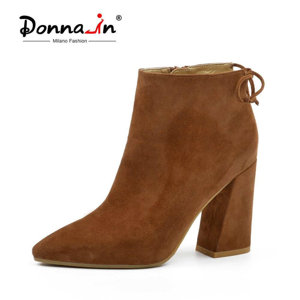 Donna-in 2018 Autumn Ankle Boots for Women High Heels Pointed Toe Genuine Leather Lady Boots Fashion Sexy Suede Shoes Women