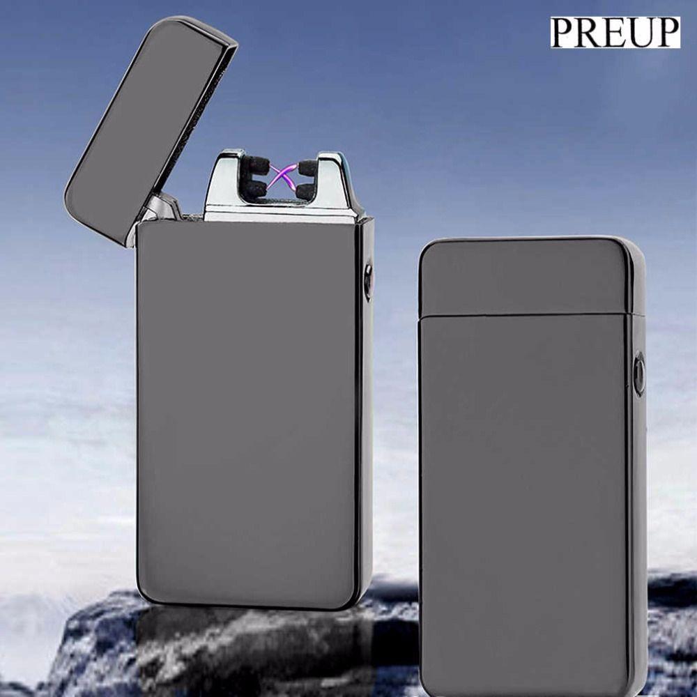 PREUP charge Double Arc Léger USB coupe-vent personnalité Électrique Allume-cigare Nouveauté Métal Sans Flamme Torche Rechargeable